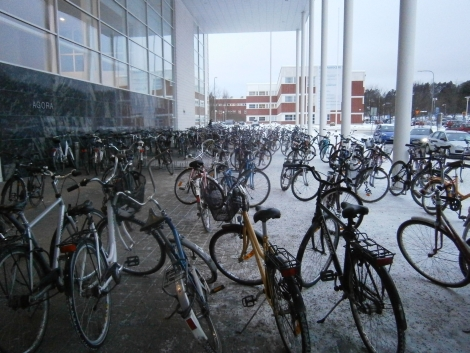 Parking for bicycles in front of one of the university buildings (Agora)