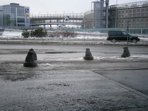 Little stone bears at Helsinki Airport
